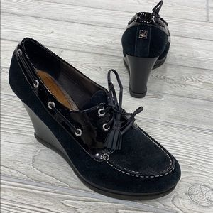 SPERRY Black Leather Topsider Wedges - sz 8.5